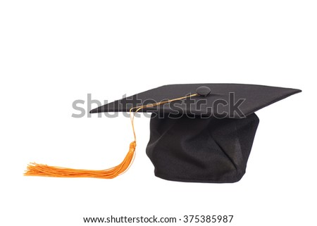 Black Graduation Hat with Gold Tassel isolated on white background. - stock photo