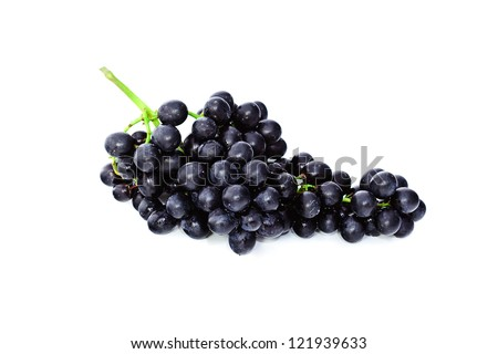 Black grapes isolated on the white background - stock photo