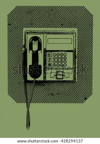Black-green illustration of the phone booth telephone close up view - stock photo