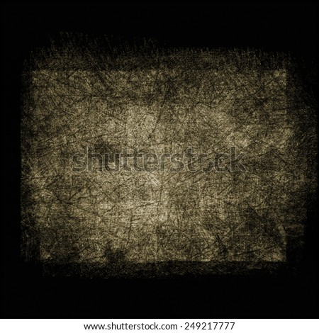 black grunge background with brown grungy border and vintage texture design - stock photo