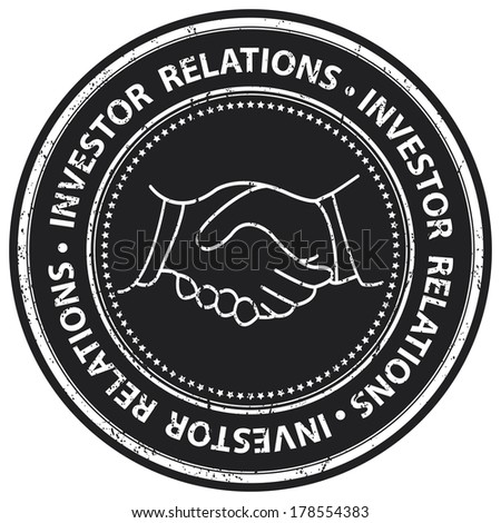 Black Grunge Style Investor Relations Icon, Badge, Label or Sticker for Business, Partner, Franchise or Investment Concept Isolated on White Background  - stock photo
