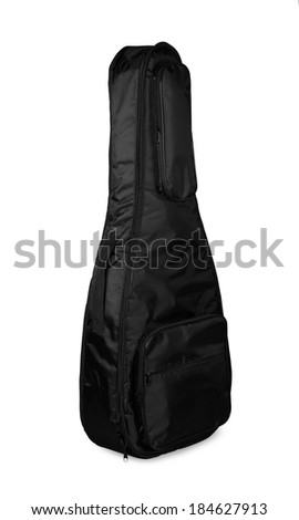 Black guitar case on a white background - stock photo