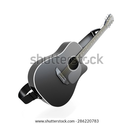 Black guitar isolated on white background. 3d render image. - stock photo