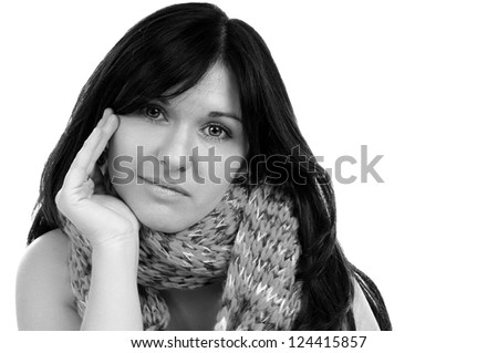 black haired woman with scarf in black and white / pretty woman - stock photo