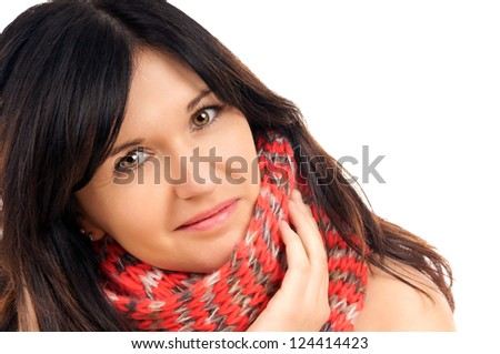 black haired woman with scarf / pretty woman - stock photo