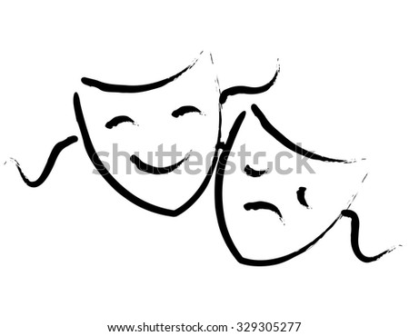 Black hand drawn hapy and sad theater masks / faces isolated on white background - stock photo