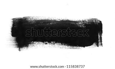 Black hand painted brush stroke daub - stock photo