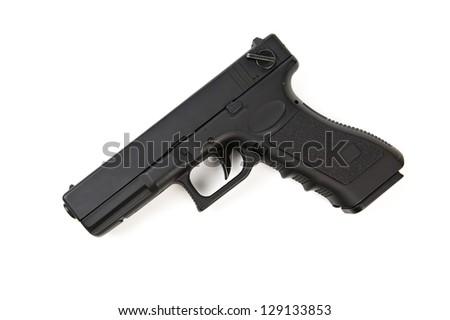 black handgun isolated on white - stock photo