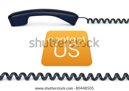 Black handset isolated on a white background with the sign contact us - stock photo