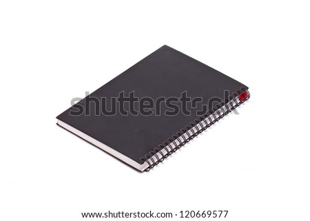 Black hard cover notebook with ring binder isolated on white. - stock photo
