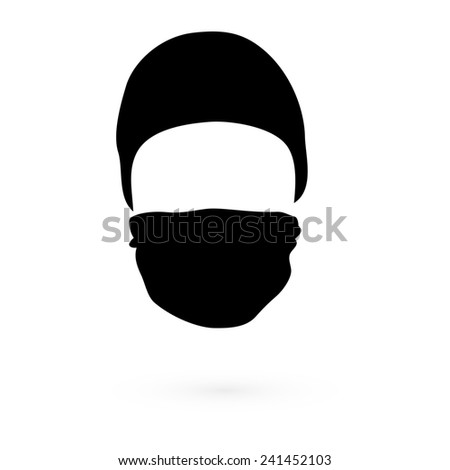Black hat with a mask. Raster. 1 Raster.  - stock photo