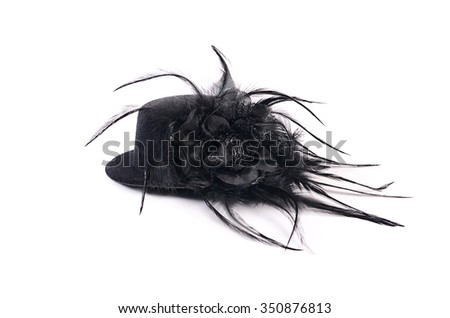 Black hat with feathers isolated on white  - stock photo