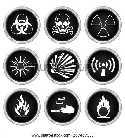 Black hazard related icon set isolated on white background - stock photo