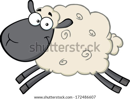 Black Head Sheep Cartoon Mascot Character Jumping. Raster Illustration Isolated on white - stock photo