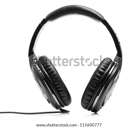 black headphones isolated on a white bacground - stock photo