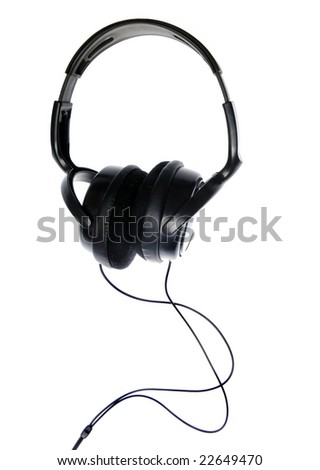 black headphones on white background - stock photo
