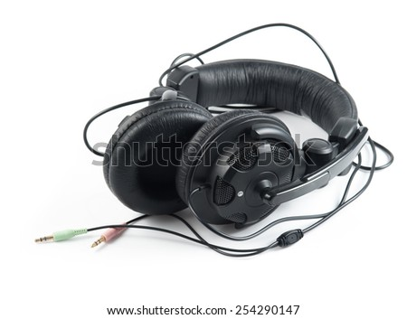 Black Headphones with White Background - stock photo