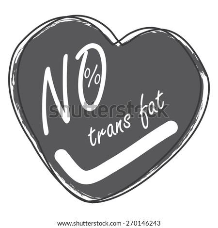 Black Heart Shape 0% Trans Fat Banner, Sign, Tag, Label, Sticker or Icon Isolated on White Background - stock photo