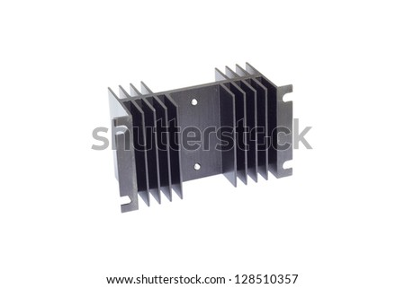 black heat sink on the white background - stock photo
