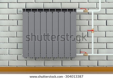 black heating radiator in a room isolated on white background - stock photo