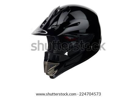 Black helmet Isolated on white background,helmet motorcycle,racing helmet. - stock photo