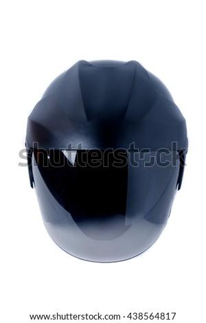 black helmet on white background - stock photo