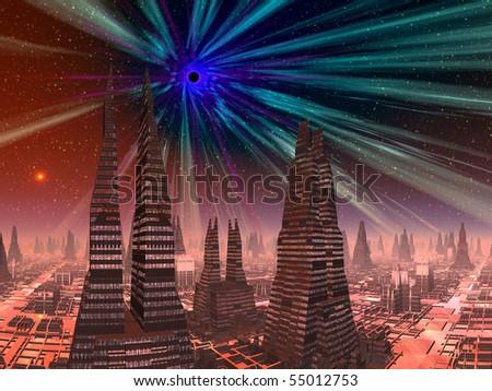 Black Hole Above Alien City - stock photo