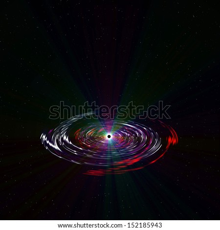 Black Hole in deep space, 2d illustration - stock photo