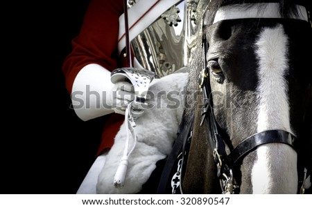 Black horse mounted by a british royal guard in London, England - stock photo