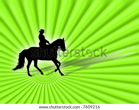 Black horse silhouette as symbol of equestrian sport - stock photo