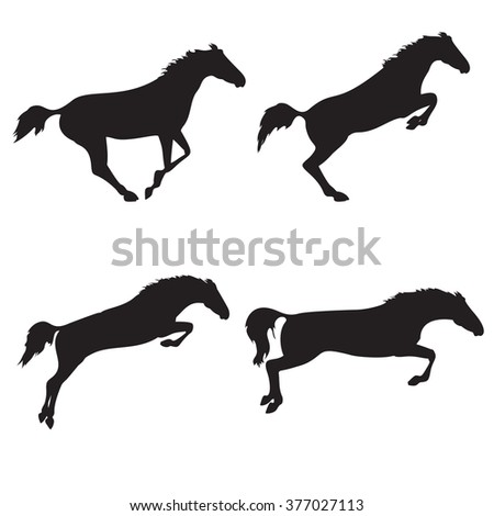 Black horses on isolated background. Set of wild horses.  horse collection. Silhouettes of horses. Collection of horse race, jump, run - stock photo
