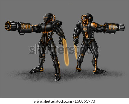 Black infantry in strong black suit with plasma arms - stock photo