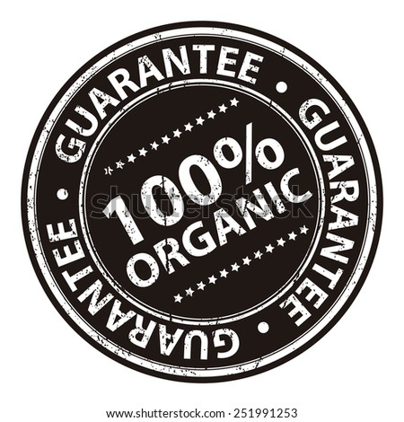 Black Information Material, Circle Brown 100% Organic Guarantee Sticker, Rubber Stamp, Icon, Tag or Label Isolated on White Background - stock photo