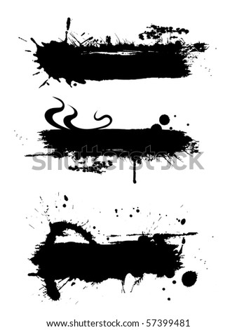 Black ink banner with ink grunge effect and copy space - stock photo