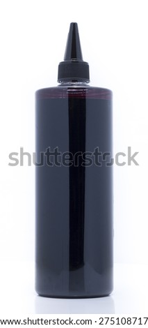 Black Ink Bottle of Printer on White background - stock photo