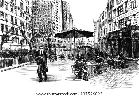 Black ink-drawing of city avenue with pedestrians, cafe and set of skyscrapers in New York - stock photo