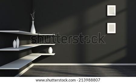black interior with white shelf and vases - stock photo