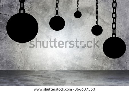 Black iron ball with chains - stock photo
