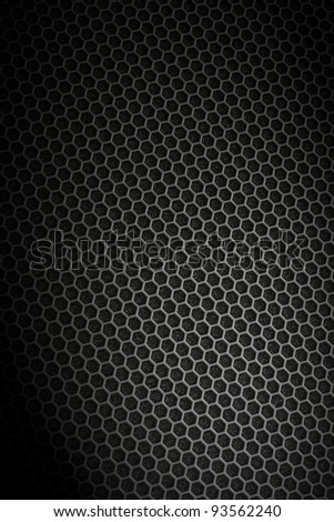 Black iron hexagonal texture. Industrial background. - stock photo