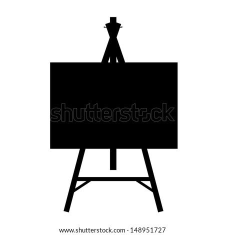 black isolated contour easels silhouettes - stock photo