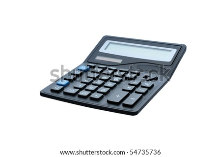 black isolated electronic calculator with black end blue buttons - stock photo