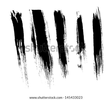 Black isolated ink brush strokes with messy drops - stock photo