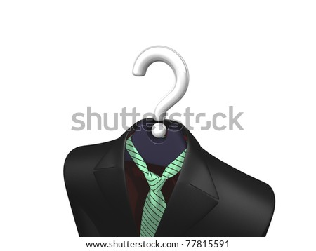 Black jacket and green tie with sloping black stripes hanging on a fancy hanger with white shiny question mark in place of wire hook on white background - stock photo