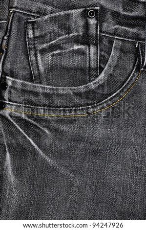 Black jean texture with pocket - stock photo