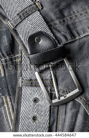 Black jeans and belt - stock photo