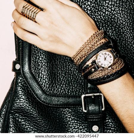 Black Jewelry Fashion. Bracelets, Watches and Rings. Be glamorous Lady. - stock photo