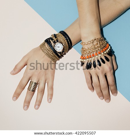 Black Jewelry fashion. Bracelets, Watches and Rings. Be stylish Lady. - stock photo