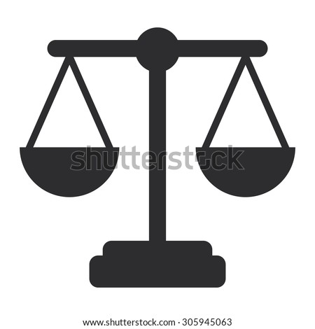 Black Justice Scales Infographics Flat Icon, Sign Isolated on White Background - stock photo