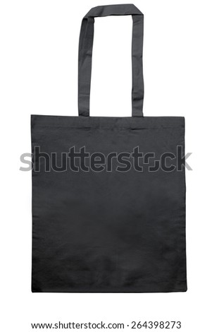 black jute bag isolated on white with clipping path - stock photo