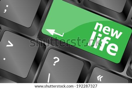 black keyboard keys with new life words - stock photo